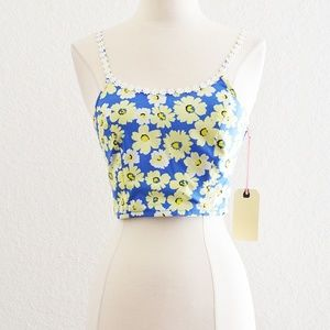 Band of Gypsies Daisy Floral Crop Top XS